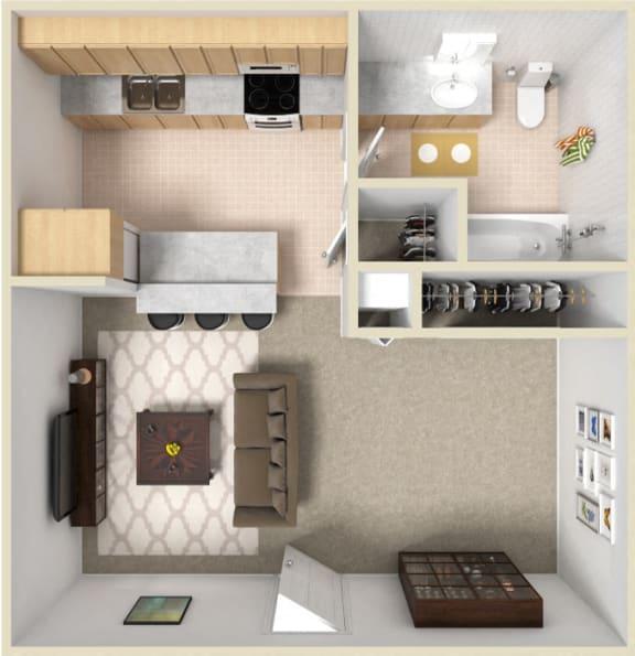 Floor Plan  Studio - Renovated