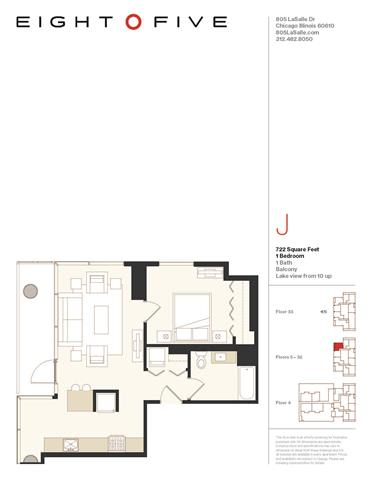 A1 Floor Plan at Eight O Five, Chicago, Illinois