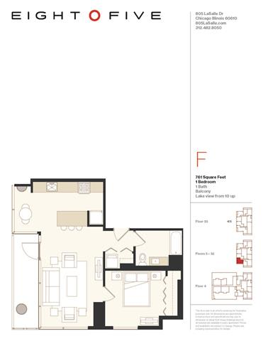 A3 Floor Plan at Eight O Five, Chicago, IL, 60610