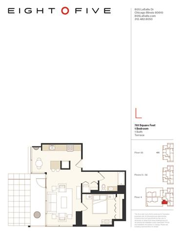 A3TR Floor Plan at Eight O Five, Illinois, 60610