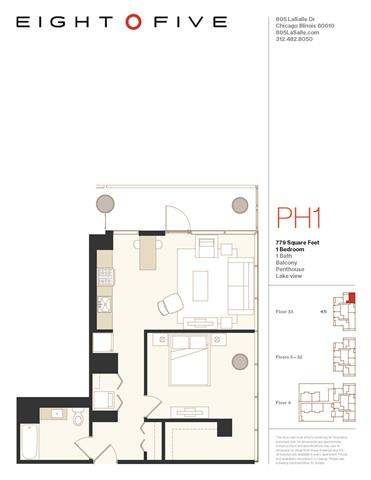 A4PH Floor Plan at Eight O Five, Chicago, 60610