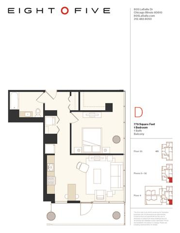 A4W Floor Plan at Eight O Five, Chicago, Illinois