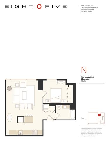 A5 Floor Plan at Eight O Five, Chicago