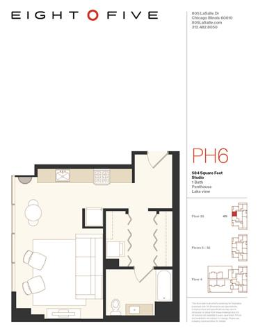 Studio2PH Floor Plan at Eight O Five, Chicago