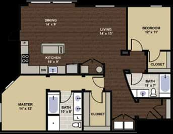 Euclid Floor Plan at Berkshire Dilworth, Charlotte, NC