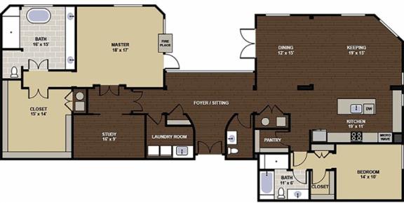 Lafayette Penthouse Suite Floor Plan at Berkshire Dilworth, Charlotte, NC