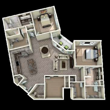 Duke Washington Floor Plan at Berkshire Main Street, Durham, NC, 27705
