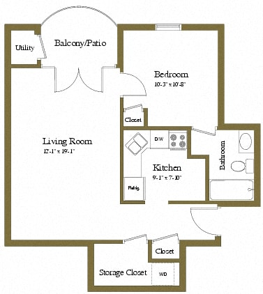 Jr 1 bedroom 1 bathroom St Tropez apartment floor plan at The Brittany in Pikesville