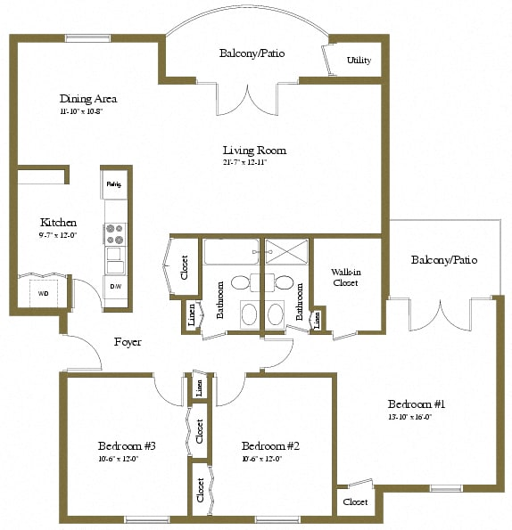 The Brittany 3 Bedroom Luxury Apartment