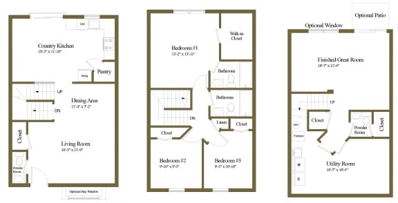 3 bedroom Inside floor plan at Carlson Woods Townhome