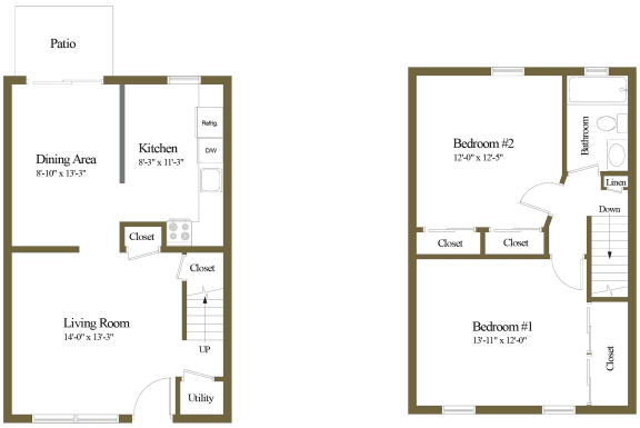 Colony Hill Apartments and Townhomes 2 Bedroom Floorplan
