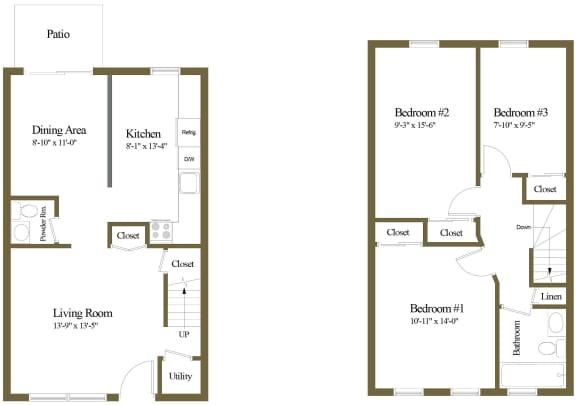 Colony Hill 3 Bedroom 1.5 Bathroom Townhome Floorplan