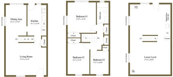 3 bedroom 1 bathroom floor plan style 2 at Foxridge Townhomes in Essex, MD