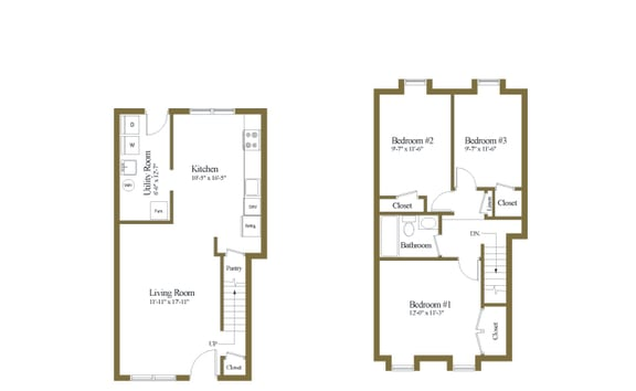 3 bedroom 1 bathroom floor plan inside unit at Kingston Townhomes in Essex, MD