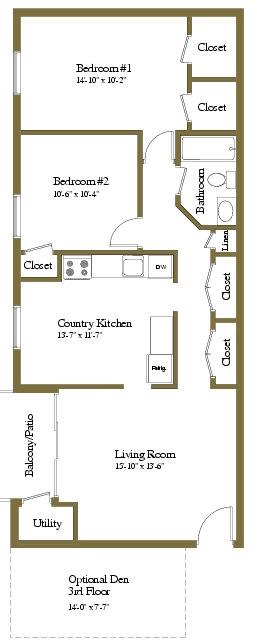 2 bedroom 1 bathroom Barrister floor plan at Lawyers Hill Apartments in Elkridge MD