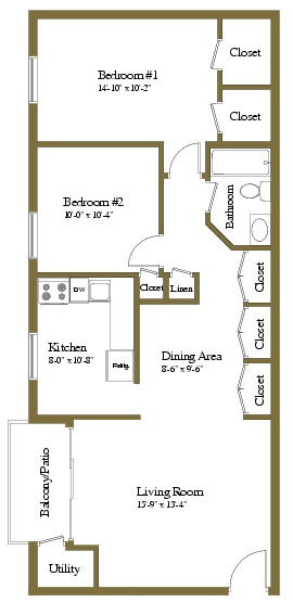 2 bedroom 1 bathroom Chancellor floor plan at Lawyers Hill Apartments in Elkridge MD