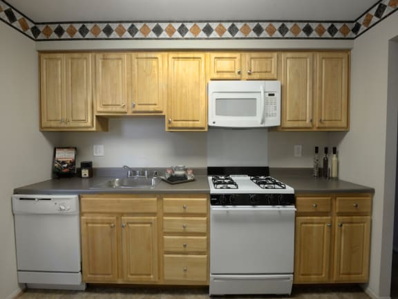 Eat in kitchens at Liberty Gardens Apartments with ample food storage space