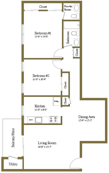 2 bedroom 1.5 bathroom style b floor plan at Liberty Gardens Apartments in Windsor Mill MD