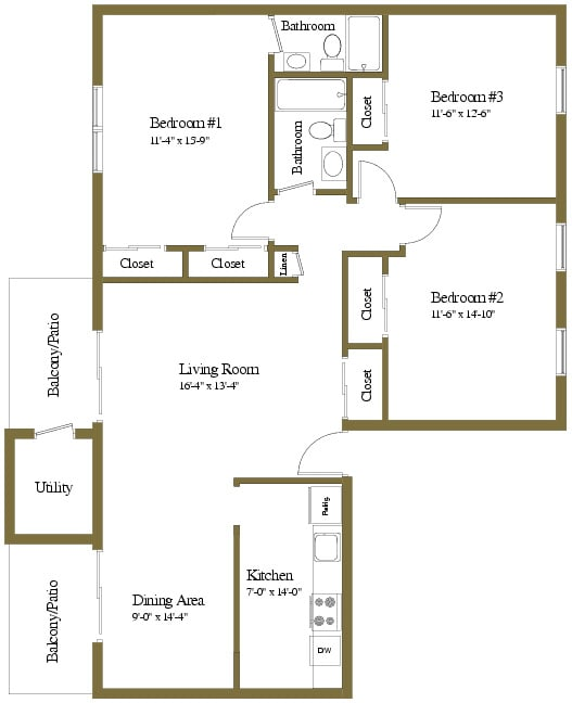 3 bedroom 2 bathroom floor plan at Liberty Gardens Townhomes