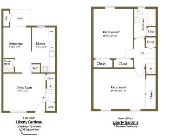2 bedroom 1.5 bathroom floor plan at Liberty Gardens Townhomes