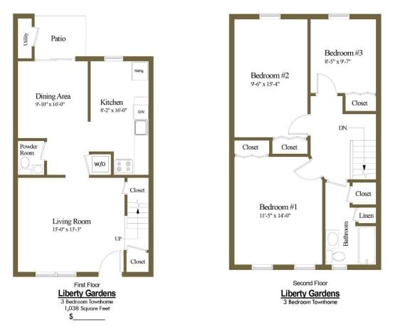 3 bedroom 1.5 bathroom floor plan at Liberty Gardens Townhomes