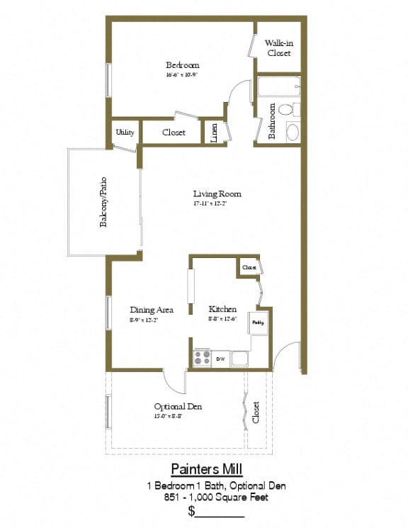 1 bedroom 1 bathroom with den floor plan at Painters Mill Apartments