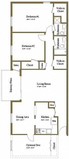 2 bedroom 2 bathroom with den floor plan at Painters Mill Apartments