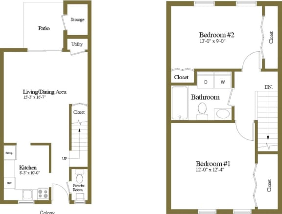 2 bedroom 1.5  bathroom Colony floor plan at Seven Oaks Townhomes in Edgewood, MD