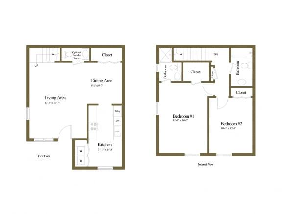 2 bedroom 2.5 bathroom inside unit floor plan at Spring Hill Townhomes in Parkville, MD