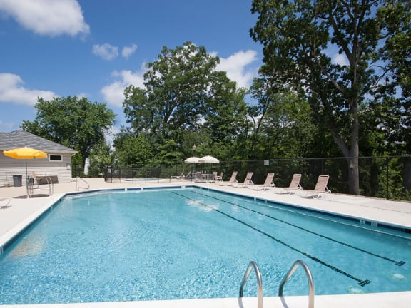 Large, private swimming pool at The Summit Apartments