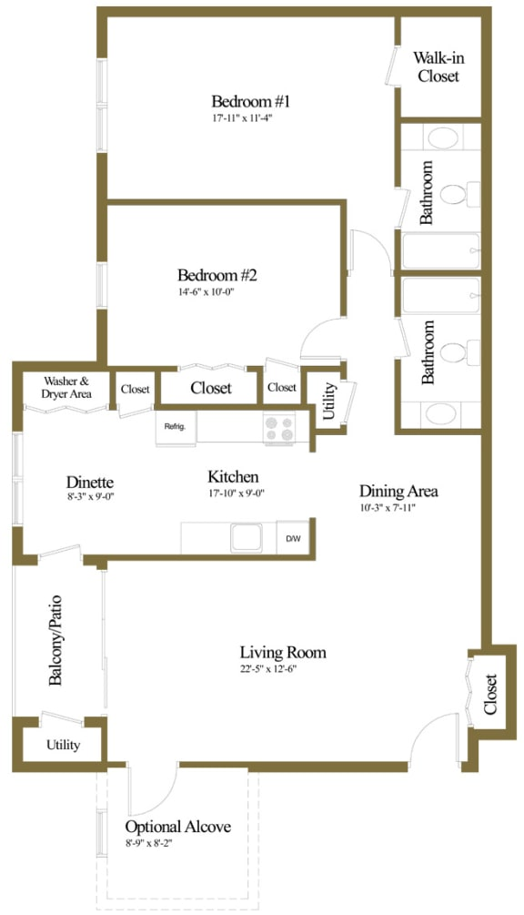 2 bedroom 2 bathroom floor plan at The Summit at Owings Mills Apartments