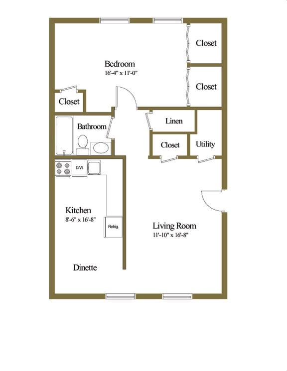 1 bedroom 1 bathroom floor plan at Winston Apartments in Baltimore Belvedere MD