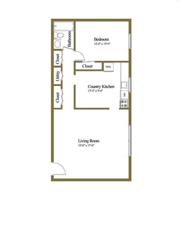 1 bedroom 1 bathroom Hillendale floor plan at Winston Apartments in Baltimore MD