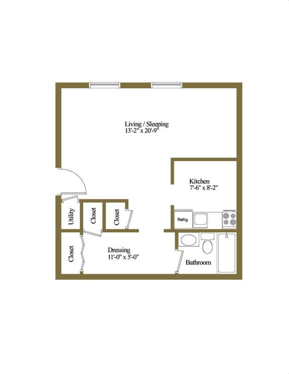 Studio 1 bedroom 1 bathroom floor plan at Winston Apartments in Baltimore MD