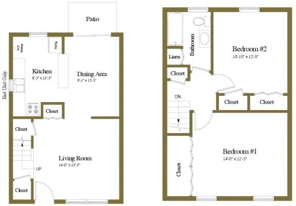 Yorktowne Townhomes in Hanover PA 2 Bedroom 1 bathroom Floorplan