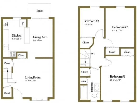 Yorktowne Townhomes 3 Bedroom Floorplan