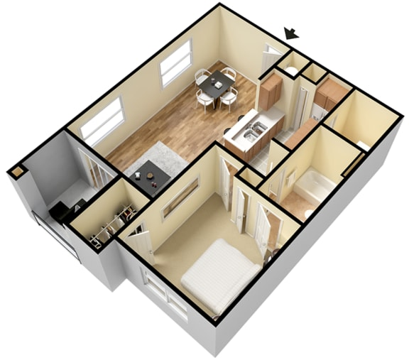 Rapallo Apartments Capri B 1 bedroom floor plan