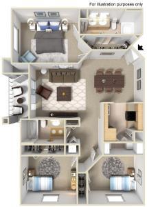 Rapallo Apartments Tuscany 3 bedroom floor plan