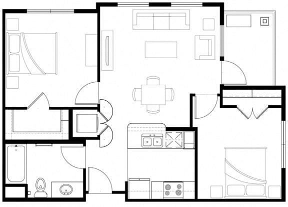 2x1 Floor Plan Vintage at the Crossing l Senior Apartments in Reno, NV 89521