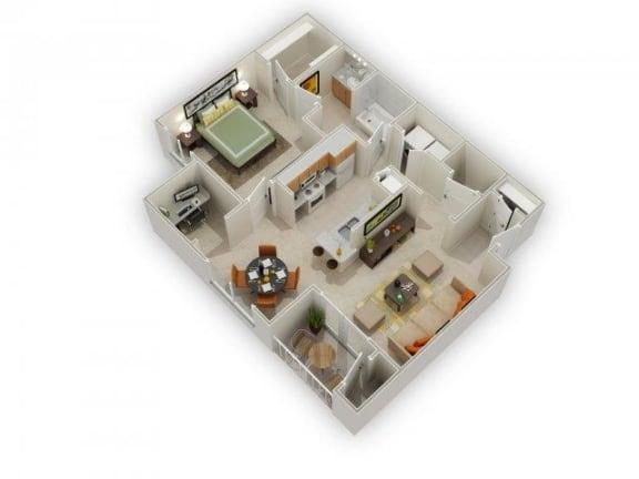 Floor Plan  Larkin 1 Bed 1 Bath Floor Plan at Main Street Village Apartments