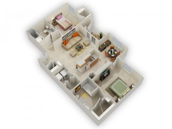 Floor Plan  Pomona Two Bed Two Bath Floor Plan at Main Street Village Apartments