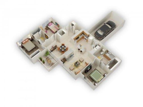 Floor Plan  Usonian Three Bed Two Bath Floor Plan at Main Street Village Apartments