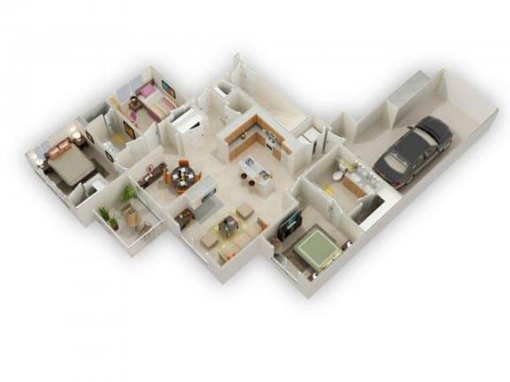 Floor Plan  Usonian II Three Bed Two Bath Floor Plan at Main Street Village Apartments
