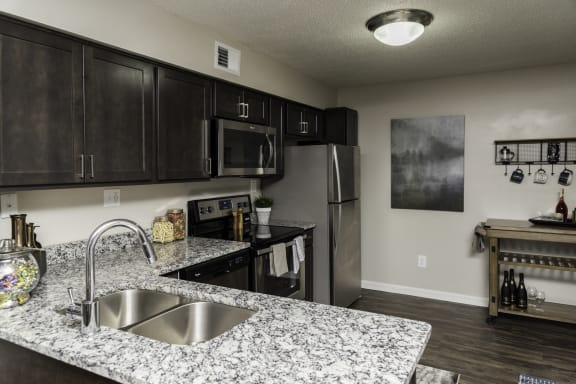 Double Stainless Steel Sink at Fairlane Woods Apartments, Dearborn, MI, 48126