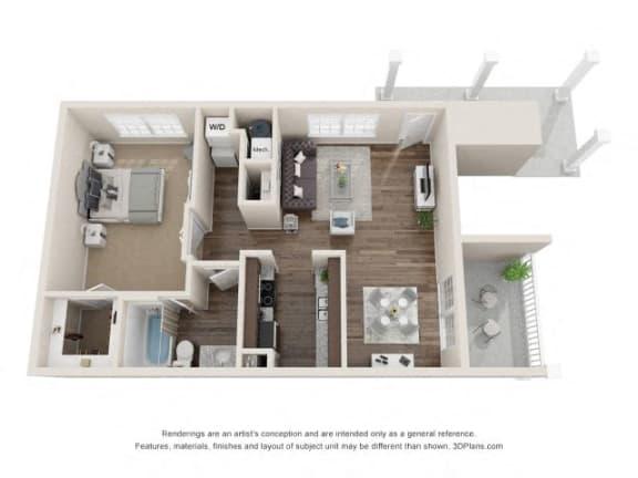 Blake One Bedroom One Bathroom Floor Plan at Fairlane Woods Apartments, Michigan