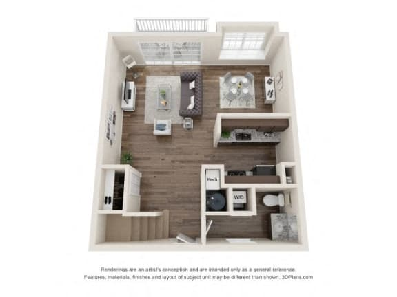 Byron Town Home Two Bed Floor Plan at Fairlane Woods Apartments, Michigan