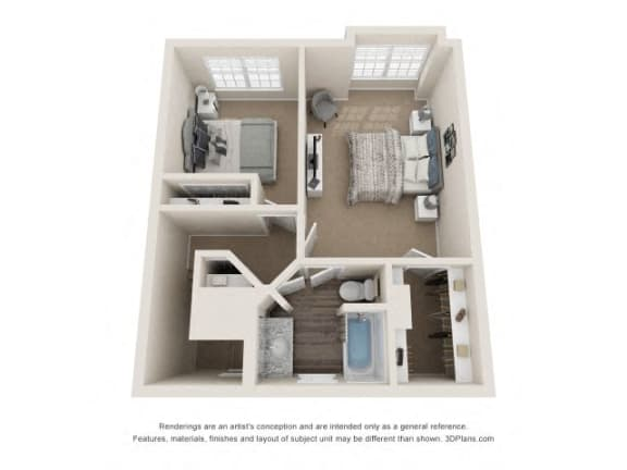 Byron Town Home Two Bedrooms Floor Plan at Fairlane Woods Apartments, Dearborn, Michigan