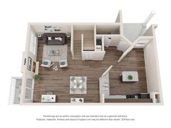 Coleridge Town Home Three Beds Floor Plan at Fairlane Woods Apartments, Dearborn, MI