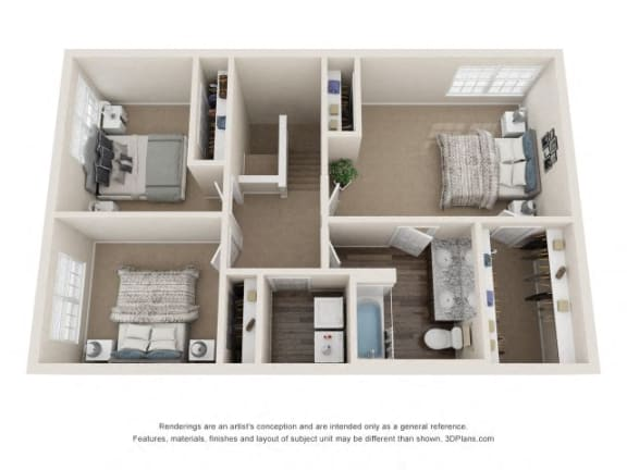 Coleridge Town Home Three Bedrooms One And Half Bathroom Floor Plan at Fairlane Woods Apartments, Michigan, 48126