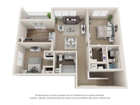 Keats Two Bedroom Two Bath Floor Plan at Fairlane Woods Apartments, Michigan, 48126